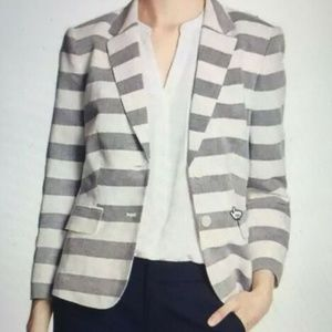 Banana Republic Stripe Linen Shrunken Blazer